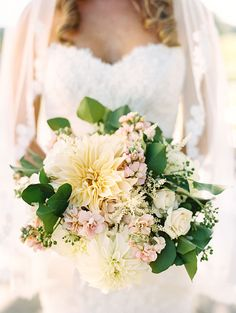 Lush Bouquet with Neutral Colored Flowers | Brides.com