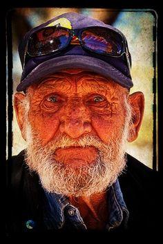 Beautiful lo-fi portrait of an old man