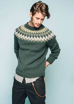 Nord Mens pullover pattern by Sandnes Design Male Sweaters, Wool Sweaters, Men Sweater, Pullover Design, Sweater Design, Sweater Knitting Patterns, Knitting Designs, Norwegian Knitting, Icelandic Sweaters