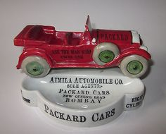 c1910+VINTAGE+PACKARD+CARS+AUTOMOBILE+PORCELAIN+SIGN+ADVERTISING+ASHTRAY+GERMANY