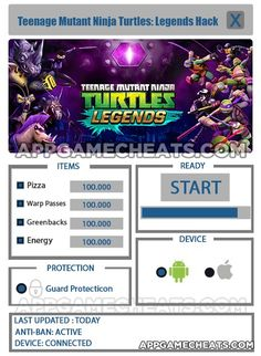 New Teenage Mutant Ninja Turtles: Legends Hack download updated. Teenage Mutant Ninja Turtles: Legends Hack 2016 download tool. Free download of Teenage Mutant Ninja Turtles: Legends Hack.