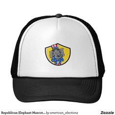 Republican Elephant Mascot Arms Crossed Shield Car Trucker Hat. 2016 American elections trucker hat with an illustration of an American Republican GOP elephant mascot arms crossed wearing a stars and stripes top hat and suit viewed from front set inside a shield on isolated background done in cartoon style. #americanelections #elections #vote2016 #election2016 #VoteAmerica #Decision2016