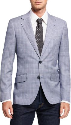 Shop Men's Plaid Wool-Blend Sport Coat from Douglas & Grahame at Neiman Marcus Last Call, where you'll save as much as on designer fashions. Grey Sport Coat, Mens Sport Coat, Sport Coats, Blazer Outfits Men, Summer Shorts Outfits, Khaki Suits, Mens Suits, Tan Chinos, Outfits