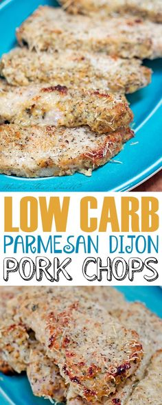 "Low Carb Parmesan Dijon Pork Chops - easy to make ""breaded"" pork chops that are . CLICK Image for full details Low Carb Parmesan Dijon Pork Chops - easy to make ""breaded"" pork chops that are low carb, paleo, gluten-free. Healthy Diet Recipes, Ketogenic Recipes, Keto Recipes, Cooking Recipes, Snacks Recipes, Good Pork Chop Recipes, Easy Low Carb Recipes, Smoothie Recipes, Ketogenic Diet"