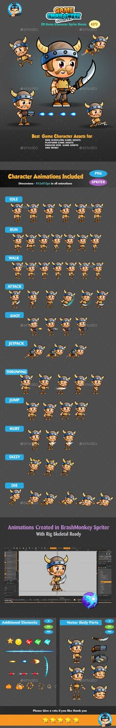 viking 2D game character 2D Game Character Sprite Sheets This assets is for developers who want to create their mobile game apps for IOS and Android games and need Game Enemies Character Spritesheets for their projects. Best assets for game Like: Shooting game, Running Game,Platform Game, and more side Scrolling games.