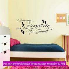 Harry Potter Wall Sticker I Solemnly Swear Quote Removable Vinyl Wall Art Decal Personalised Wall Stickers, Vinyl Wall Stickers, Art Wall Kids, Vinyl Wall Decals, Inspirational Wall Decals, Wall Art Quotes, Harry Potter Wall Stickers, Bedroom Stickers, Jr