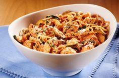 Spaghettis au poulet en sauce rosée recette