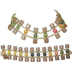 Bracelet Set, Necklace Set, Vintage Jewelry, Jewelry Necklaces, Bangles, Plastic, Buttons, Chain, Antiques