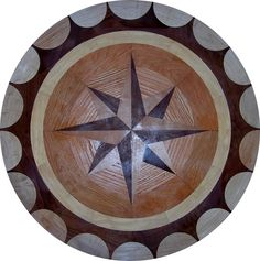 Unique Hardwood Floor Medallion Inlays and Compass Roses