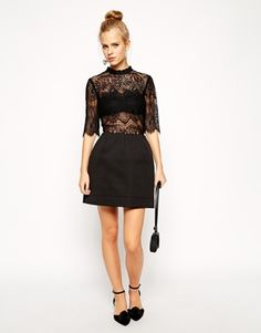 Enlarge ASOS High Neck Lace Top With Bonded Lantern Skirt