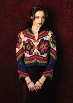 Stupendo modello di giacca all'uncinetto con un bel abbinamento di colori contrastanti tra loro. Non c'è la traduzione delle spiegazioni ma si può seguire