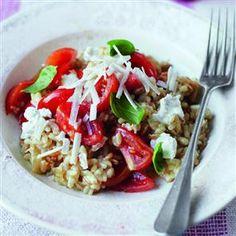 Squashed #tomato, #basil and garlic #barley risotto