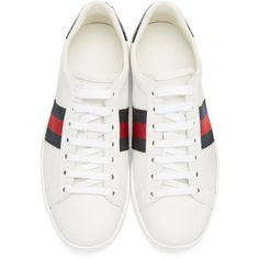 Gucci White Leather Stripe New Ace Sneakers ($480) ❤ liked on Polyvore featuring shoes, sneakers, gucci, white, white trainers, leather lace up sneakers, white shoes, leather sneakers and white low top sneakers