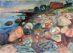 """A fine-art giclée reproduction of """"Shore with Red House"""" by Norwegian painter Edvard Munch. Known for his evocative treatment of psychological themes, Munch played an influential role in the development of German Expressionism in the early centu. Edvard Munch, Canvas Home, Canvas Art, Canvas Prints, House Canvas, List Of Paintings, Google Art Project, Post Impressionism, Art Graphique"""