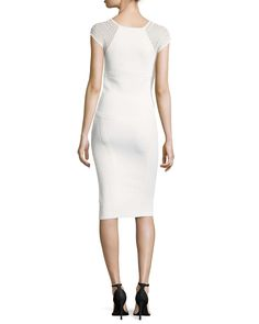 Cross-Seam Sleeveless Sheath Dress, White