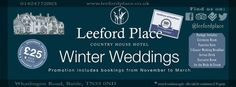 Leeford Place Hotel - Wedding Venue  WINTER WEDDING OFFER www.leefordplace.co.uk Facebook/Twitter @Leeford Place Hotel  #LeefordPlace #LeefordPlaceHotel Hotel Wedding Venues, Country House Hotels, Facebook, Twitter, Places, Lugares