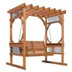 Provide a distinctive focal point to your backyard or patio by choosing this Three Person Wood Patio Pergola Swing in Cedar from Backyard Discovery. Cedar Pergola, Small Pergola, Pergola Canopy, Pergola Swing, Pergola Attached To House, Deck With Pergola, Wood Patio, Wooden Pergola, Backyard Pergola