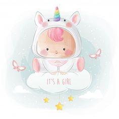 Baby girl in unicorn costume Premium Vec. Cartoon Unicorn, Baby Cartoon, Cartoon Kids, Bebe Vector, Kids Vector, Cute Baby Girl, Cute Babies, Elephant Background, Girl Unicorn Costume