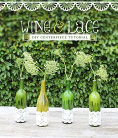 diy with bottles   DIY Tutorial: Wine & Lace Centerpieces // Hostess with the Mostess®