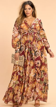 Plus Size Autumn Floral Maxi Dress