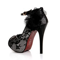Lace Upper Stiletto Heel Peep Toe With Flowers
