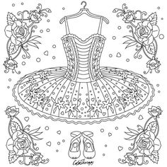 "471 Likes, 5 Comments - Best Coloring App for Adults (@colortherapyapp) on Instagram: ""The sneak peek for the next Gift of The Day tomorrow. Do you like this one? #BalletDress…"""
