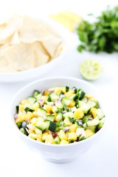 Cucumber Mango Salsa Recipe on twopeasandtheirpod.com This fresh and simple salsa is great with chips, grilled chicken, or fish!