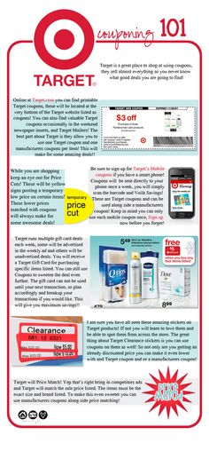 Need to look into: Target Couponing 101 - Great Chart. Who doesn't love Target? hate Walmart- good to know that Target price matches too! Ways To Save Money, Money Tips, Money Saving Tips, Couponing 101, Extreme Couponing, Shopping Coupons, Shopping Hacks, Target Coupons, Shopping Deals