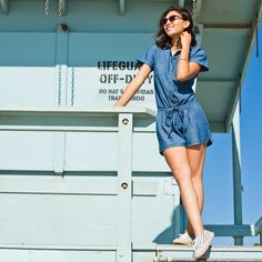 This chambray romper makes for a perfect beach cover-up. Slip on some casual striped espadrilles to go from brunch on the boardwalk to sunbathing in the sand. Shop this look from Old Navy.