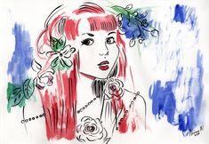 Girl with Roses Printable Image Red Hair Beauty Watercolor Cards Printable Cards Mixed Media Watercolor Printable Illustration Card Making Red Art, Blue Art, Original Artwork, Original Paintings, Valentines Illustration, Watercolor Cards, Painting & Drawing, Wall Art, Artist