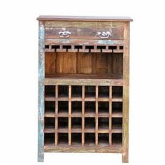 Recycled wood bar unit with 1 drawer,shelf and 24 bottle containers Unfinished Wood Furniture, Pallet Patio Furniture, Crate Furniture, Furniture Repair, Wine Rack Bar, Recycled Wood, Wood Art, Wood Crafts, Wood Projects