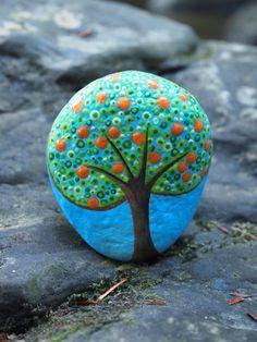 Orange Tree Stone / River Rock / Painted Tree Stones by mitsel8
