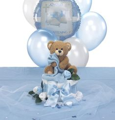 Blankie Bear Diaper Cake  Centerpiece & Table Decorations Package for Baptism - $42.00