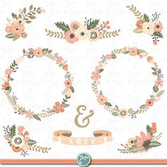 Illustration of Vintage Flowers Wreath Collections vector art, clipart and stock vectors. Rustic Wedding Flowers, Vintage Flowers, Vintage Floral, Floral Frames, Sites Like Etsy, Bicycle Illustration, Craft Sites, Valentine Theme, Floral Garland