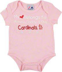 St. Louis Cardinals Newborn/Infant Girls Pink 'My Heart Belongs To' Creeper $11.99 http://www.fansedge.com/St-Louis-Cardinals-NewbornInfant-Girls-Pink-My-Heart-Belongs-To-Creeper-_717193978_PD.html?social=pinterest_pfid63-16627