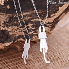 Drop Shipping 925 Sterling Silver Necklaces & Pendants Cute Cat Silver Necklaces Jewelry Collar Colar(China (Mainland))