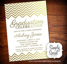 Hey, I found this really awesome Etsy listing at https://www.etsy.com/listing/189991959/graduation-party-invitation-with-gold