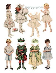 Edwardian Christmas paper dolls