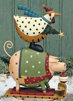 Chicken and Pig Riding on Sleigh Figurine – Christmas Folk Art & Holiday Collectibles – Williraye Studio $30.00