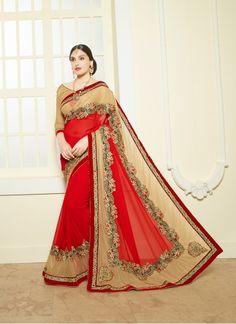 Buy Bemberg Cream & Red Designer Saree