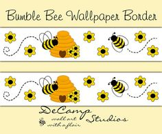 Bumble Honey Bee Hive Wallpaper Border Wall Decals for baby girl floral nursery or children's bug room decor #decampstudios