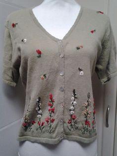 R & K Originals Green Floral Embroidered Cardigan size 10 Medium Short Sleeve  #RKOriginals #Cardigan