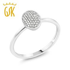 GemStoneKing Solid 10K  White Gold  0.076 CT  Natural White Diamond Solid Oval Engagement Ring For Women #Affiliate