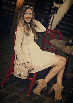 Shop this look on Kaleidoscope (dress, bootie)  http://kalei.do/WkyhGNFaHSUwxf45