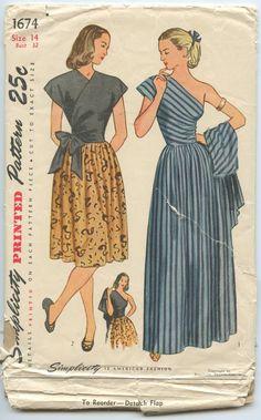 1940s Simplicity 1674 Misses One Shoulder Evening Dress and Surplice Jacket Shorter Surplice Bodice Day Dress Bust 32 Vintage Sewing Pattern