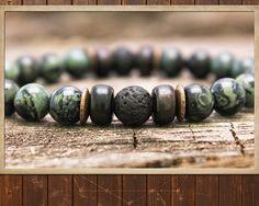 Men's Bracelet Mala // Kambaba Jasper & Lava // от DharmaWoods