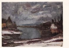 "Albert Saverys ""River"" Postcard -- 1966, Soviet Artist Publ."