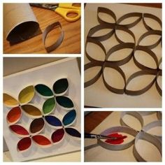 cheap toddler craft using empty paper towel/toilet paper rolls by Auli