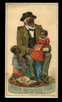 Black Americana - A beautiful, non-offensive illustration of an elderly gentleman bonding with (possible) grandchildren.