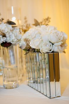 Mirror vases and white roses ~ Maria Angela Photography  | bellethemagazine.com